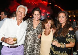 IBIZA, SPAIN - AUGUST 23: (L to R) Michael Boxford, Monica Gambee, Pilar Boxford and Saskia Boxford attend as Casamigos founders Rande Gerber, George Clooney and Mike Meldman host the official launch of Casamigos Tequila in Ibiza and Spain at Ushuaia Ibiza Beach Hotel on August 23, 2015 in Ibiza, Spain. Pic Credit: Dave Benett