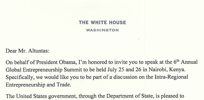 Official White House letter inviting Baybars to give speech at the Global Entrepreneurship Summit in Kenya