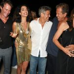 IBIZA, SPAIN - AUGUST 23:  (L to R)  Founder of Casamigos Tequila Rande Gerber, Amal Clooney, Founder of Casamigos Tequila George Clooney, Mario Testino and Cindy Crawford attend as Casamigos founders Rande Gerber, George Clooney and Mike Meldman host the official launch of Casamigos Tequila in Ibiza and Spain at Ushuaia Ibiza Beach Hotel on August 23, 2015 in Ibiza, Spain.    Pic Credit: Dave Benett
